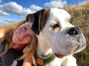 Boxer Dog Diaries blogger Jane Cowan and her dog Shiva